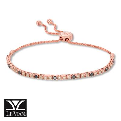 14K Strawberry Gold® Bolo Bracelet with Chocolate Diamonds® 1  1/2 cts., Blackberry Diamonds® 1/2 cts. | DEKI 159CHBK