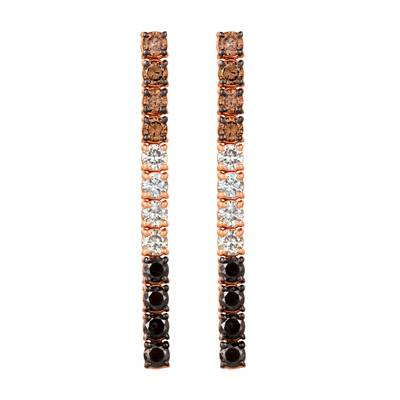 14K Strawberry Gold® Earrings with Blackberry Diamonds® 1/2 cts., Chocolate Diamonds® 1/2 cts., Nude Diamonds™ 1/2 cts. | DEKI 2034
