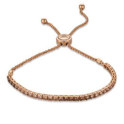 14K Strawberry Gold® Bolo Bracelet with Ombre Chocolate Diamonds® 2 cts. | DEKI 380