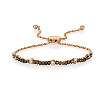 14K Strawberry Gold® Bolo Bracelet with Vanilla Diamonds® 1/3 cts., Chocolate Diamonds® 3/8 cts. | DEKI 447