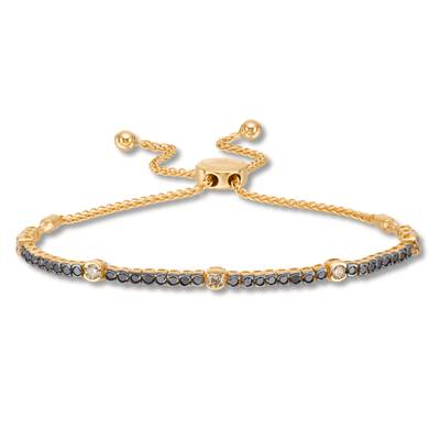 14K Honey Gold™ Bolo Bracelet with Nude Diamonds™ 3/8 cts., Black Diamonds 7/8 cts. | DEKI 447BKCB
