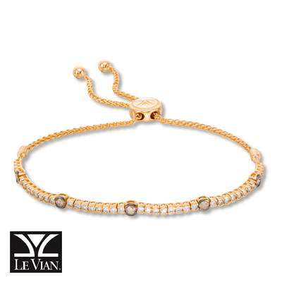 14K Honey Gold™ Bolo Bracelet with Chocolate Diamonds® 3/8 cts., Nude Diamonds 7/8 cts. | DEKI 447CBCH