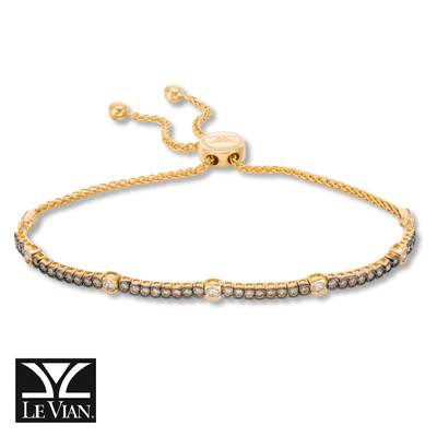 14K Honey Gold™ Bolo Bracelet with Nude Diamonds™ 3/8 cts., Chocolate Diamonds® 7/8 cts. | DEKI 447CHCB
