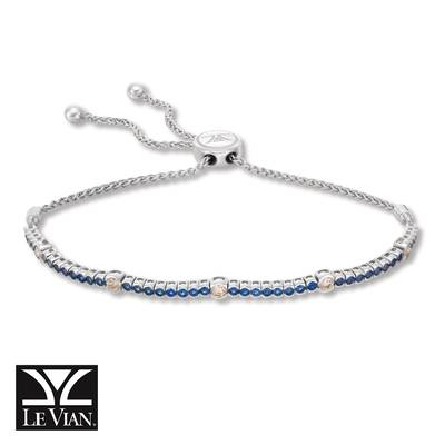 14K Vanilla Gold® Blueberry Sapphire™ 1  1/5 cts. Bolo Bracelet with Nude Diamonds™ 3/8 cts. | DEKI 447SACB