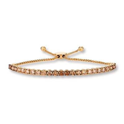 14K Honey Gold™ Bolo Bracelet with Chocolate Ombré Diamonds® 4 cts. | DEKI 461YG
