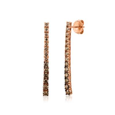 14K Strawberry Gold® Earrings with Chocolate Ombré Diamonds® 1  1/3 cts. | DEKI 555