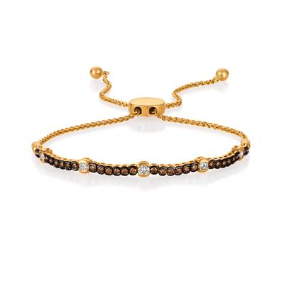14K Honey Gold™ Bolo Bracelet with Vanilla Diamonds® 1/3 cts., Chocolate Diamonds® 3/8 cts. | DEKI 711