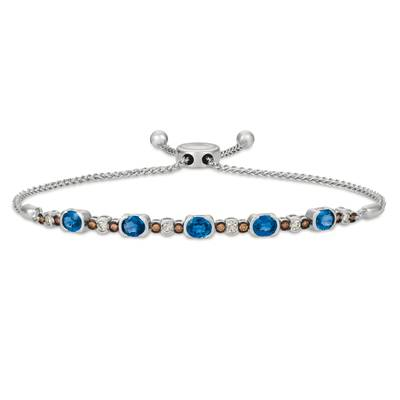 14K Vanilla Gold® Blueberry Sapphire™ 2 cts. Bolo Bracelet with Vanilla Diamonds® 1/4 cts., Chocolate Diamonds® 1/6 cts. | DEKI 846