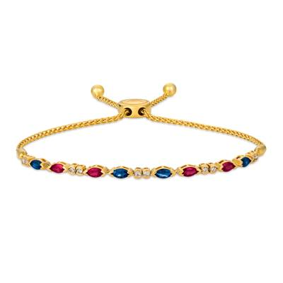 14K Honey Gold™ Blueberry Sapphire™ 5/8 cts., Passion Ruby™ 5/8 cts. Bolo Bracelet with Nude Diamonds™ 1/5 cts. | DEKI 939