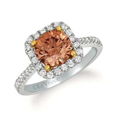 18K Two Tone Gold Ring with Chocolate Diamonds® 1  3/4 cts., Vanilla Diamonds® 1/2 cts. | FRAF 129