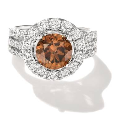 18K Vanilla Gold® Ring with Chocolate Diamonds® 2  1/3 cts., Vanilla Diamonds® 1  3/8 cts. | FRAF 287