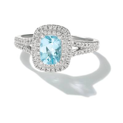 18K Vanilla Gold® Sea Blue Aquamarine® 3/4 cts. Ring with Vanilla Diamonds® 3/8 cts. | FRAN 53