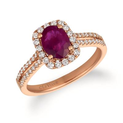 14K Strawberry Gold® Passion Ruby™ 1  1/3 cts. Ring with Vanilla Diamonds® 3/8 cts. | FRAS 13