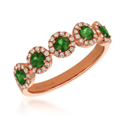 14K Strawberry Gold® Costa Smeralda Emeralds™ 5/8 cts. Ring with Vanilla Diamonds® 1/5 cts. | FRAS 14