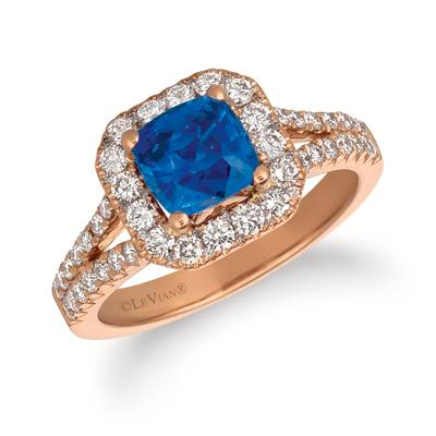 14K Strawberry Gold® Cornflower Ceylon Sapphire™ 1  7/8 cts. Ring with Vanilla Diamonds® 7/8 cts. | FRAS 5