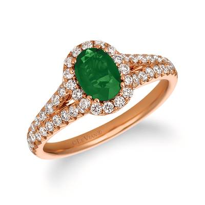 14K Strawberry Gold® Costa Smeralda Emeralds™ 5/8 cts. Ring with Vanilla Diamonds® 5/8 cts. | FRAS 7