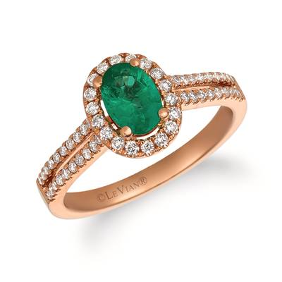 14K Strawberry Gold® Costa Smeralda Emeralds™ 5/8 cts. Ring with Vanilla Diamonds® 1/3 cts. | FRAS 8