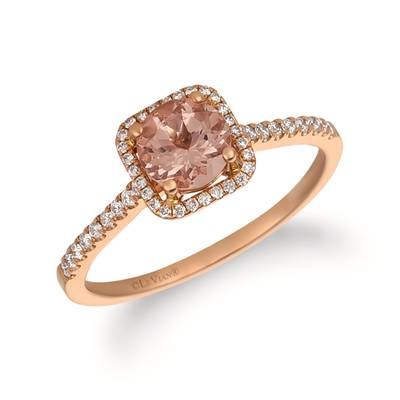 14K Strawberry Gold® Peach Morganite™ 1/2 cts. Ring with Vanilla Diamonds® 1/5 cts. | FRAT 1