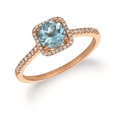 14K Strawberry Gold® Sea Blue Aquamarine® 5/8 cts. Ring with Vanilla Diamonds® 1/5 cts. | FRAT 12