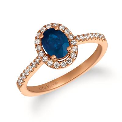 14K Strawberry Gold® Blueberry Sapphire™ 3/4 cts. Ring with Vanilla Diamonds® 1/3 cts. | FRAT 13