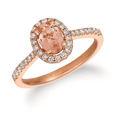 14K Strawberry Gold® Peach Morganite™ 1/2 cts. Ring with Vanilla Diamonds® 1/3 cts. | FRAT 14