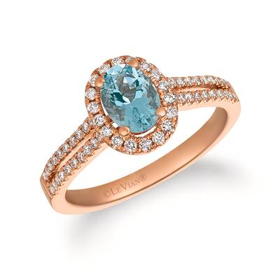 14K Strawberry Gold® Sea Blue Aquamarine® 5/8 cts. Ring with Vanilla Diamonds® 1/3 cts. | FRAT 19