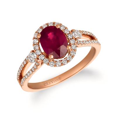 14K Strawberry Gold® Passion Ruby™ 1  1/3 cts. Ring with Vanilla Diamonds® 3/8 cts. | FRAT 20