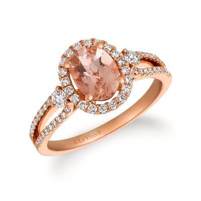 14K Strawberry Gold® Peach Morganite™ 7/8 cts. Ring with Vanilla Diamonds® 3/8 cts. | FRAT 22