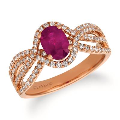 14K Strawberry Gold® Passion Ruby™ 3/4 cts. Ring with Vanilla Diamonds® 3/8 cts. | FRAT 25