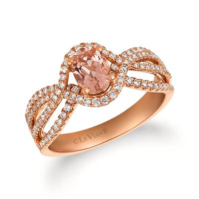 14K Strawberry Gold® Peach Morganite™ 5/8 cts. Ring with Vanilla Diamonds® 3/8 cts. | FRAT 27