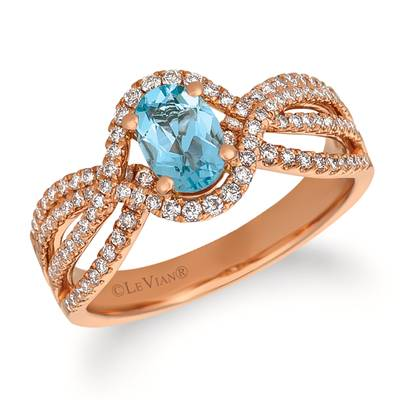 14K Strawberry Gold® Sea Blue Aquamarine® 5/8 cts. Ring with Vanilla Diamonds® 3/8 cts. | FRAT 28