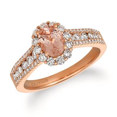14K Strawberry Gold® Peach Morganite™ 1/2 cts. Ring with Vanilla Diamonds® 3/4 cts. | FRAT 31