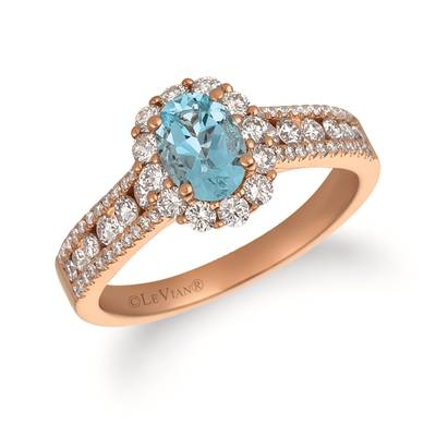 14K Strawberry Gold® Sea Blue Aquamarine® 5/8 cts. Ring with Vanilla Diamonds® 3/4 cts. | FRAT 32