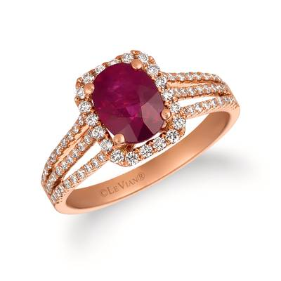 14K Strawberry Gold® Passion Ruby™ 1  1/3 cts. Ring with Vanilla Diamonds® 1/2 cts. | FRAT 33