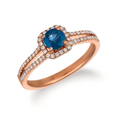 14K Strawberry Gold® Blueberry Sapphire™ 1/2 cts. Ring with Vanilla Diamonds® 1/4 cts. | FRAT 34