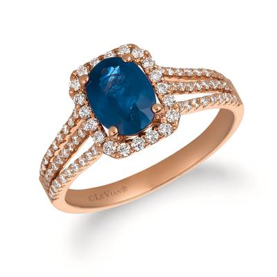 14K Strawberry Gold® Blueberry Sapphire™ 1  1/3 cts. Ring with Vanilla Diamonds® 1/2 cts. | FRAT 35
