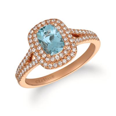 14K Strawberry Gold® Sea Blue Aquamarine® 3/4 cts. Ring with Vanilla Diamonds® 3/8 cts. | FRAT 39