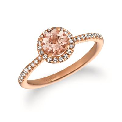 14K Strawberry Gold® Peach Morganite™ 1/2 cts. Ring with Vanilla Diamonds® 1/5 cts. | FRAT 44