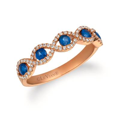 14K Strawberry Gold® Blueberry Sapphire™ 1/2 cts. Ring with Vanilla Diamonds® 1/5 cts. | FRAT 47