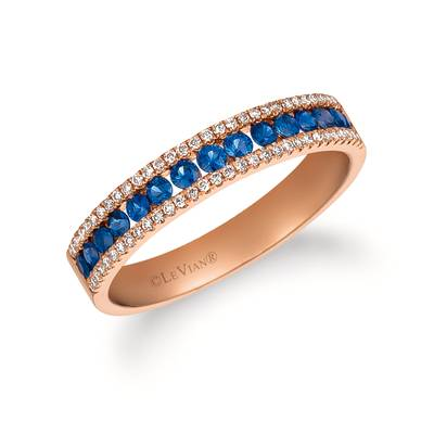 14K Strawberry Gold® Blueberry Sapphire™ 3/8 cts. Ring with Vanilla Diamonds® 1/8 cts. | FRAT 48