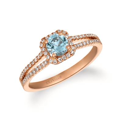 14K Strawberry Gold® Sea Blue Aquamarine® 1/3 cts. Ring with Vanilla Diamonds® 1/4 cts. | FRAT 53