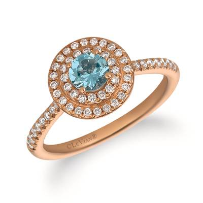 14K Strawberry Gold® Sea Blue Aquamarine® 1/3 cts. Ring with Vanilla Diamonds® 1/3 cts. | FRAT 6