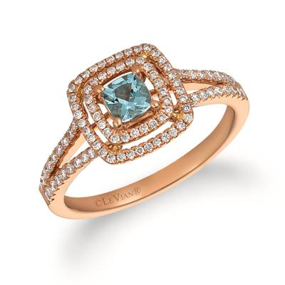 14K Strawberry Gold® Sea Blue Aquamarine® 1/2 cts. Ring with Vanilla Diamonds® 1/3 cts. | FRAT 8