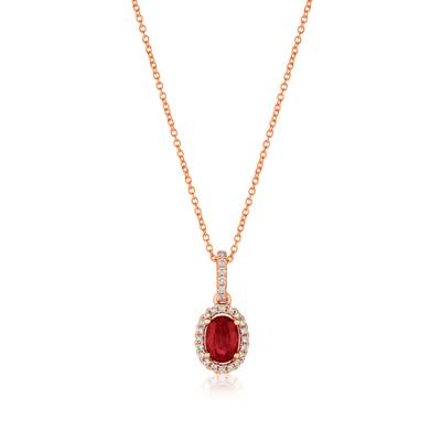 14K Strawberry Gold® Passion Ruby™ 1/2 cts. Pendant with Vanilla Diamonds® 1/10 cts. | FRAU 10