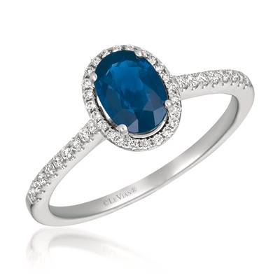 14K Vanilla Gold® Blueberry Sapphire™ 3/4 cts. Ring with Vanilla Diamonds® 1/6 cts. | FRAU 2
