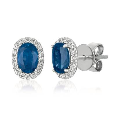 14K Vanilla Gold® Blueberry Sapphire™ 1 cts. Earrings with Vanilla Diamonds® 1/8 cts. | FRAU 3