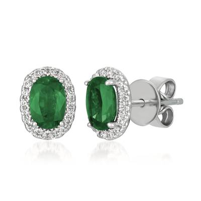 14K Vanilla Gold® Costa Smeralda Emeralds™ 3/4 cts. Earrings with Vanilla Diamonds® 1/8 cts. | FRAU 5
