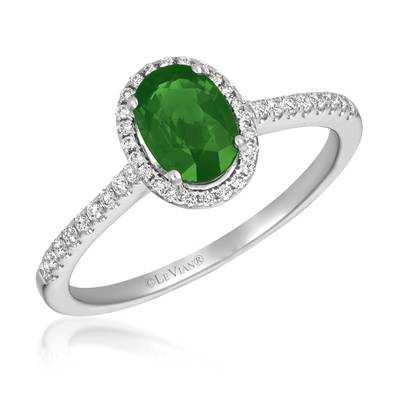 14K Vanilla Gold® Costa Smeralda Emeralds™ 5/8 cts. Ring with Vanilla Diamonds® 1/6 cts. | FRAU 7