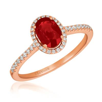 14K Strawberry Gold® Passion Ruby™ 3/4 cts. Ring with Vanilla Diamonds® 1/6 cts. | FRAU 8