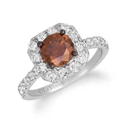 18K Vanilla Gold® Ring with Chocolate Diamonds® 1  1/3 cts., Vanilla Diamonds® 1 cts. | FRAV 186